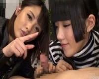 「ぬるぬるチンポコォ~♪」淫語手コキでチンポをなぶる 青井いちご夏目優希