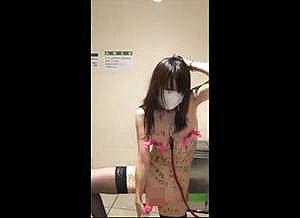 公衆トイレで首輪の変態OLが自ら全身落書きで自撮りオナニー!!