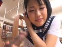 図書館でスレンダー巨乳JKのパイパンオマ○コ責めまくり絶頂セックス